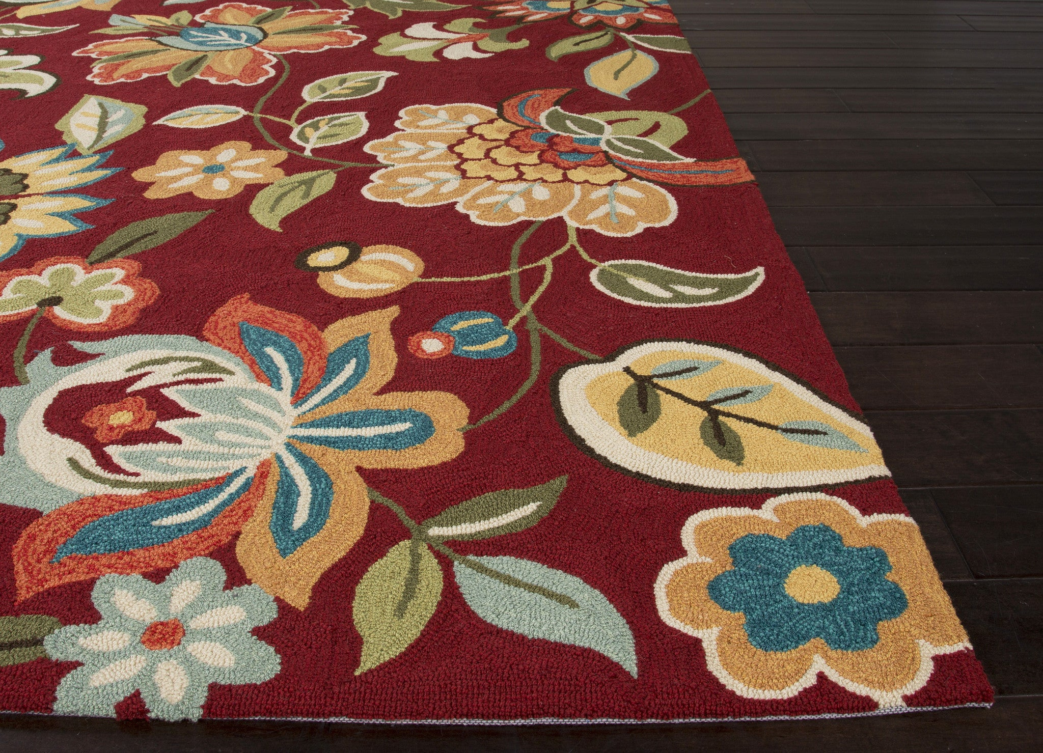 Jaipur rugs transitional floral pattern red polyester area for Red floral area rug