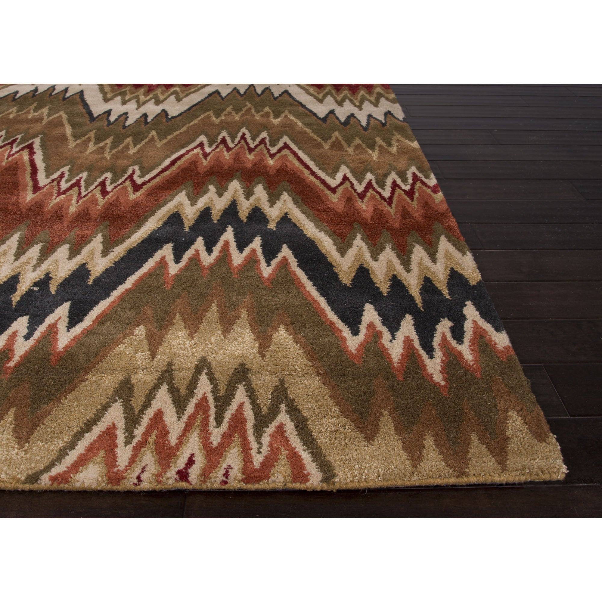 Jaipur rugs modern stripe pattern brown red wool and art for Red and white striped area rug