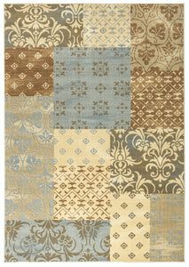 Rizzy Home Carrington CG4852 Ivory/Camel Patchwork Area Rug