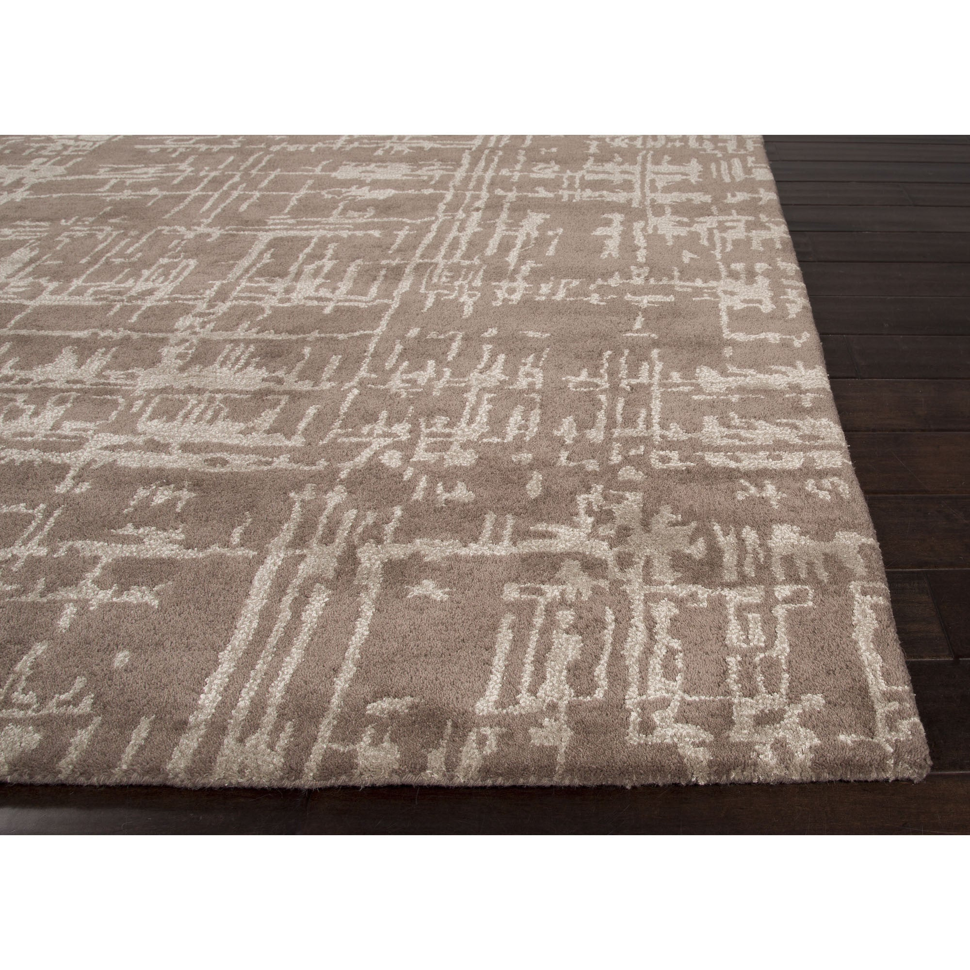 Jaipur rugs modern toneontone pattern brown tan wool and for Modern wool area rugs