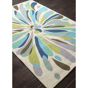 Jaipur Rugs IndoorOutdoor Abstract Pattern Multi/Blue Polypropylene Area Rug CO16 (Rectangle)