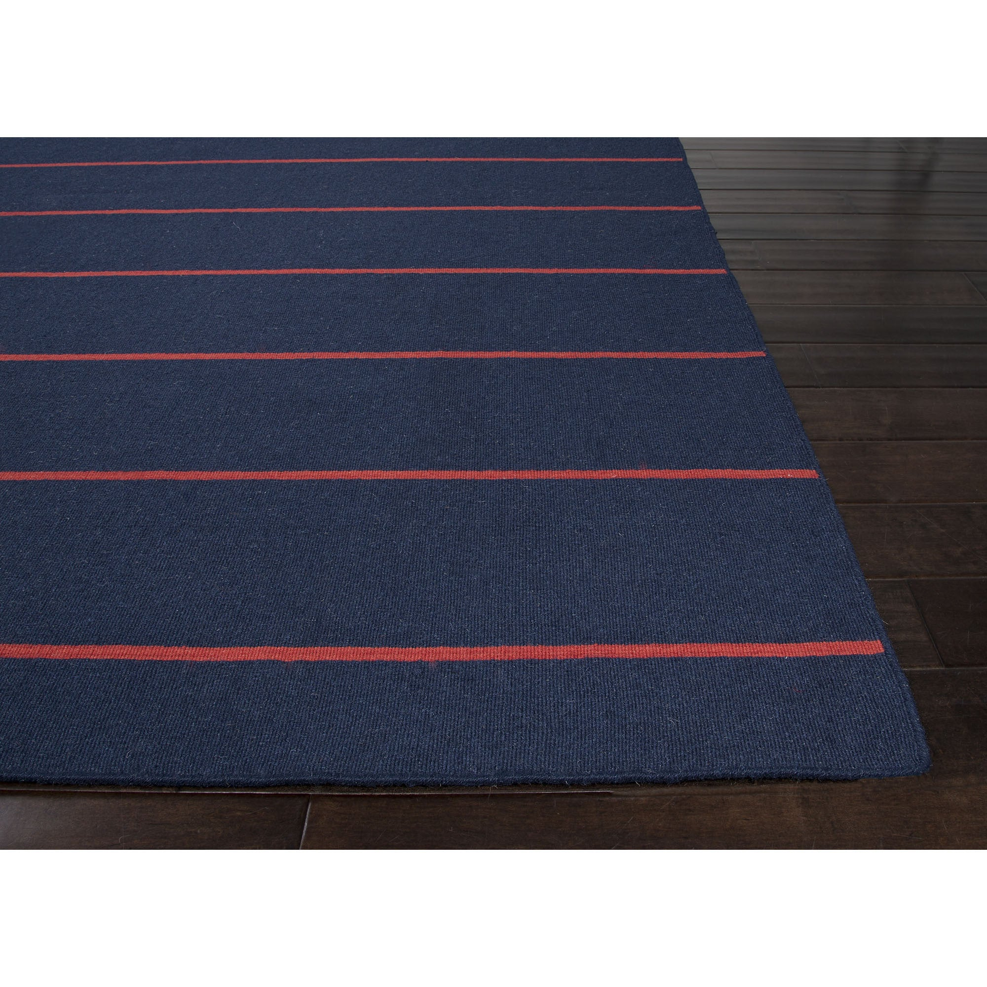 Jaipur Rugs Flatweave Stripe Pattern Blue Red Wool Area