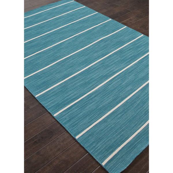 Jaipur Rugs Flatweave Stripe Pattern Blue Ivory Wool Area