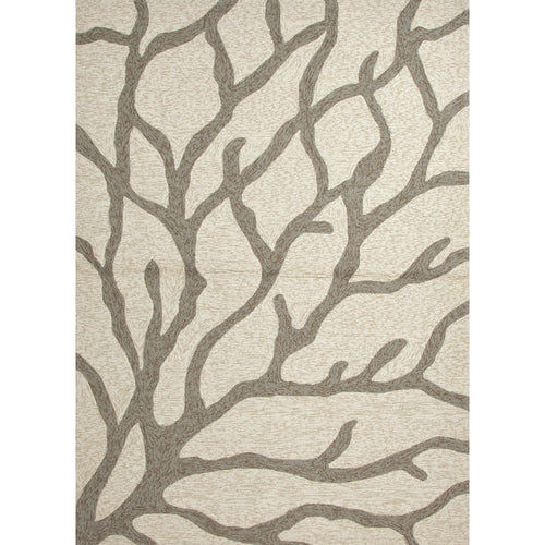 Jaipur Rugs Indoor-Outdoor Coastal Pattern Ivory/Gray Polypropylene Area Rug