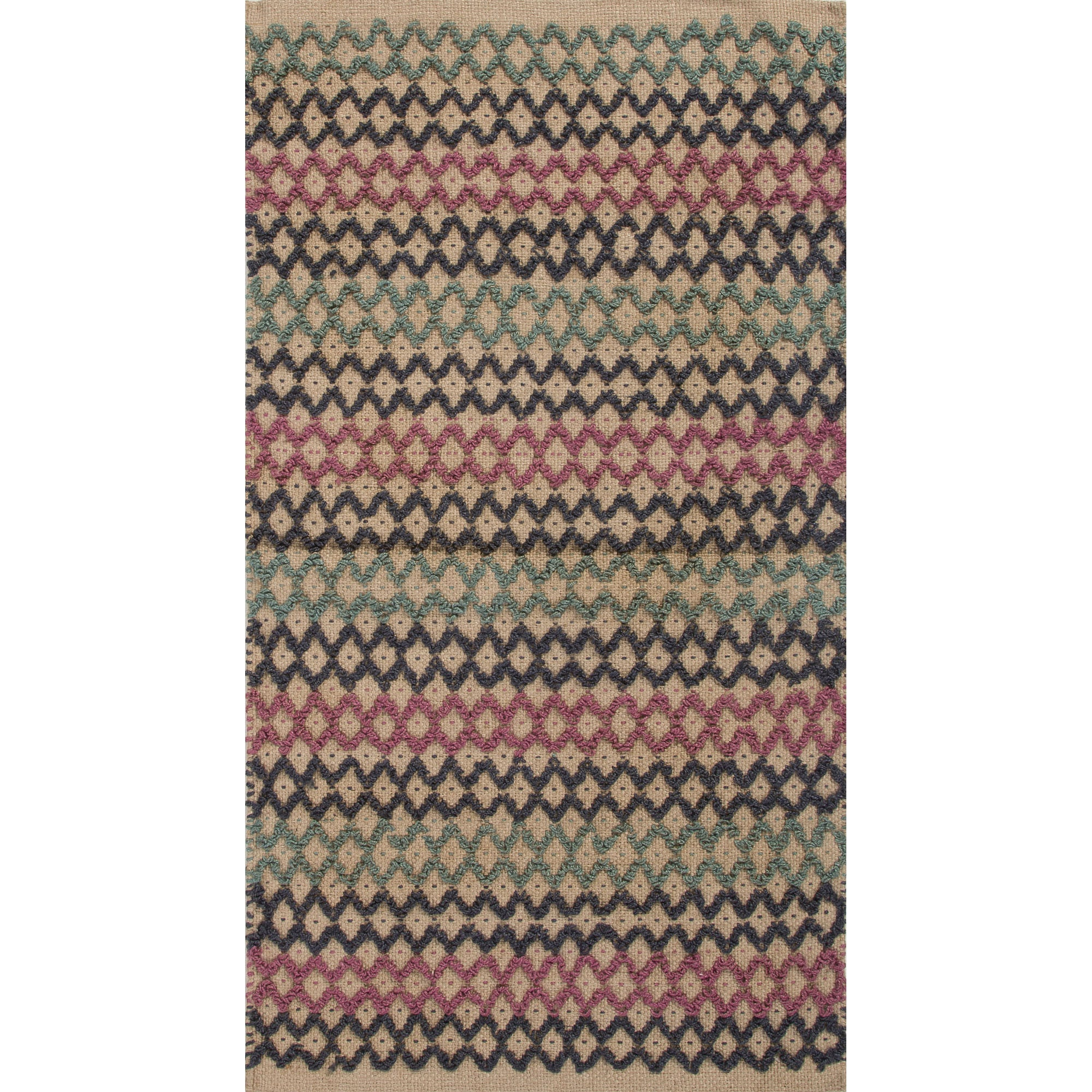 Jaipur Rugs Accent Solid Pattern Blue/Pink Jute Area Rug