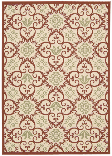Nourison Caribbean Ivory Rust Area Rug CRB02 IVRUS