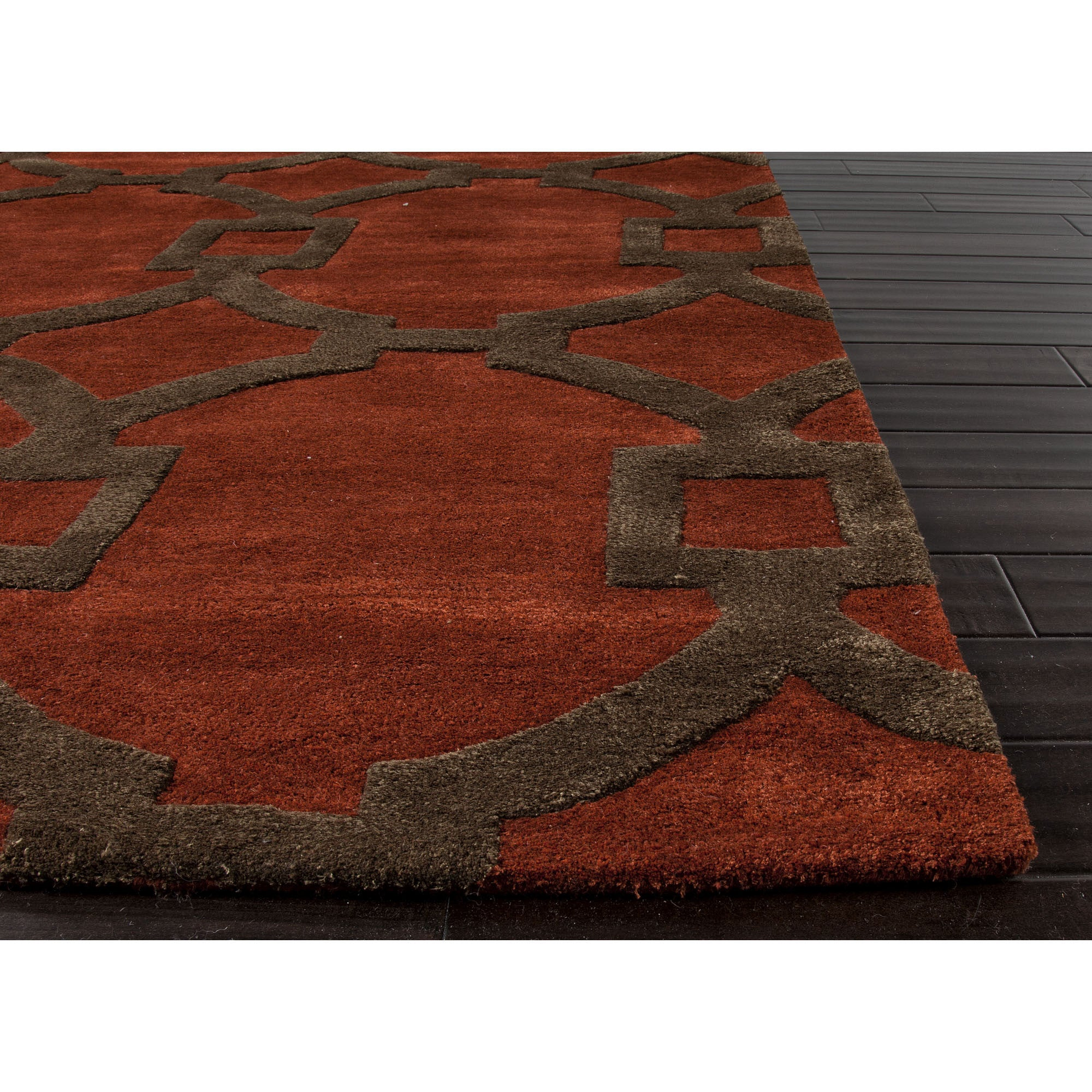 Jaipur rugs modern geometric pattern red brown wool and for Red area rugs contemporary