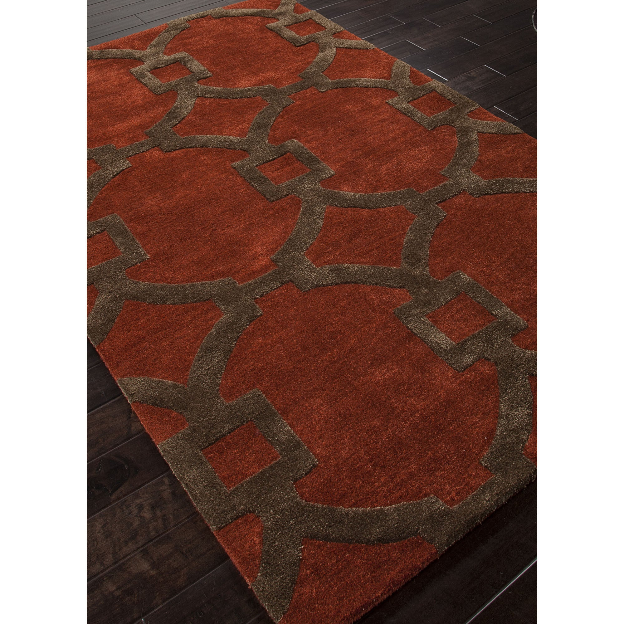 Jaipur rugs modern geometric pattern red brown wool and for Modern wool area rugs