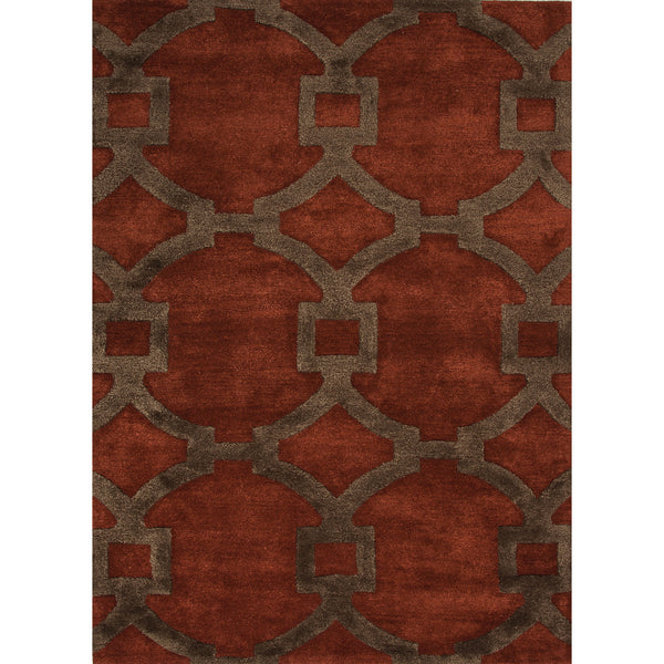 Jaipur Rugs Modern Geometric Pattern Red Brown Wool And