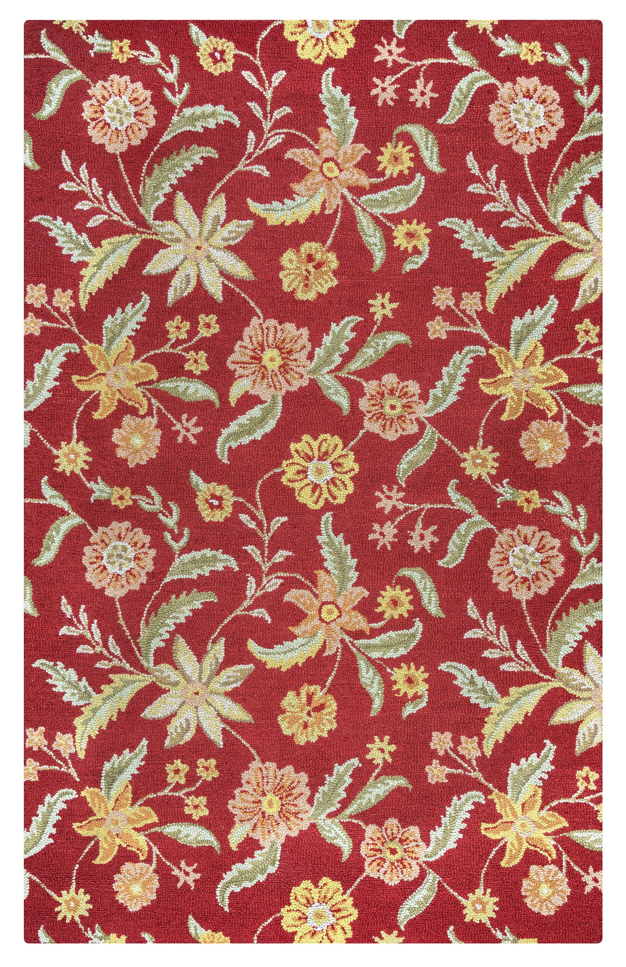 Rizzy home country ct1585 red floral area rug rugmethod for Red floral area rug
