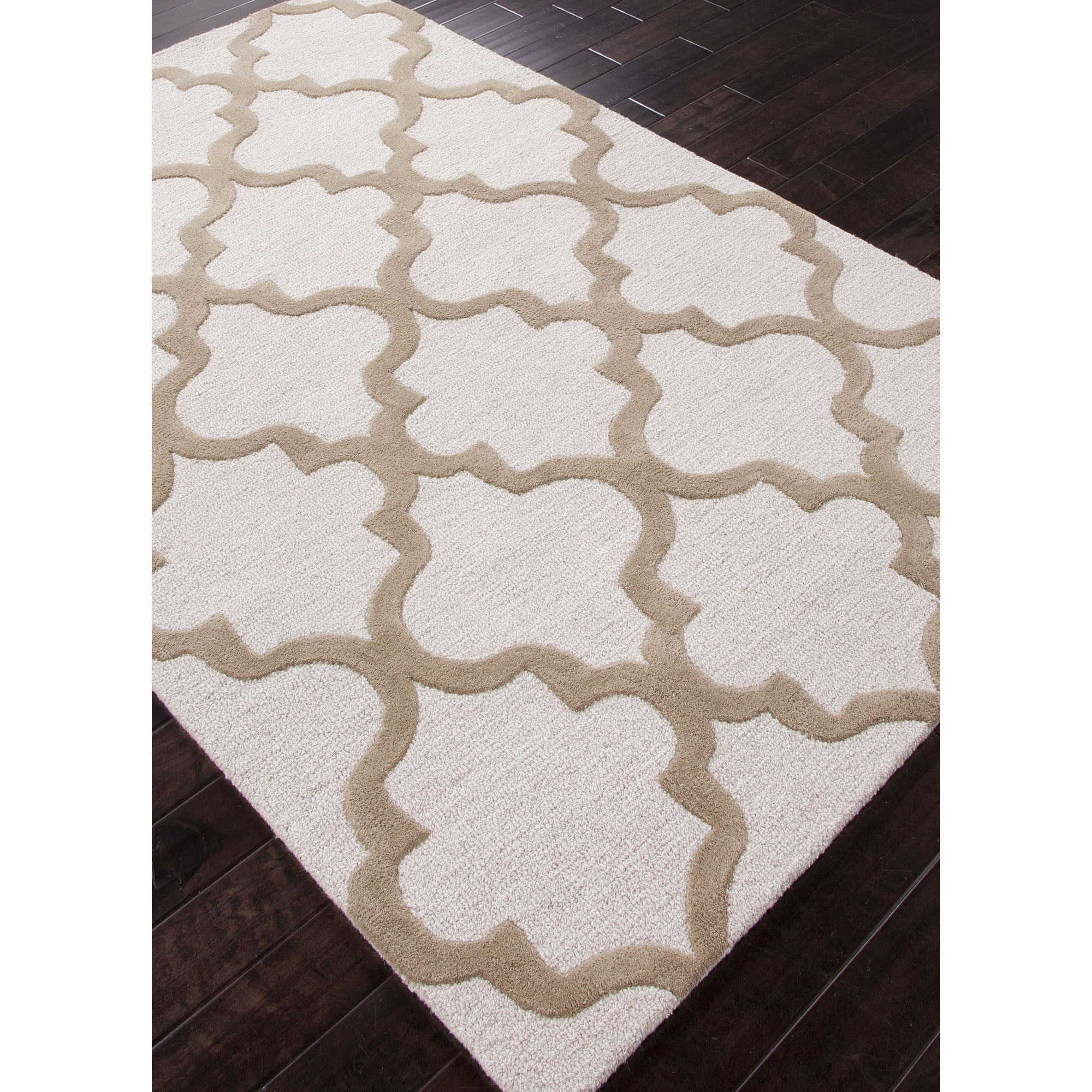 Jaipur rugs modern geometric pattern ivory taupe wool area for Modern wool area rugs