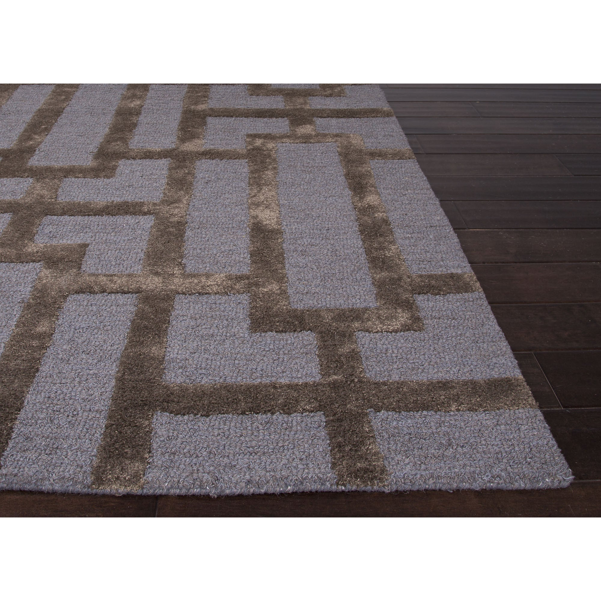Jaipur rugs modern geometric pattern blue brown wool and for Modern wool area rugs