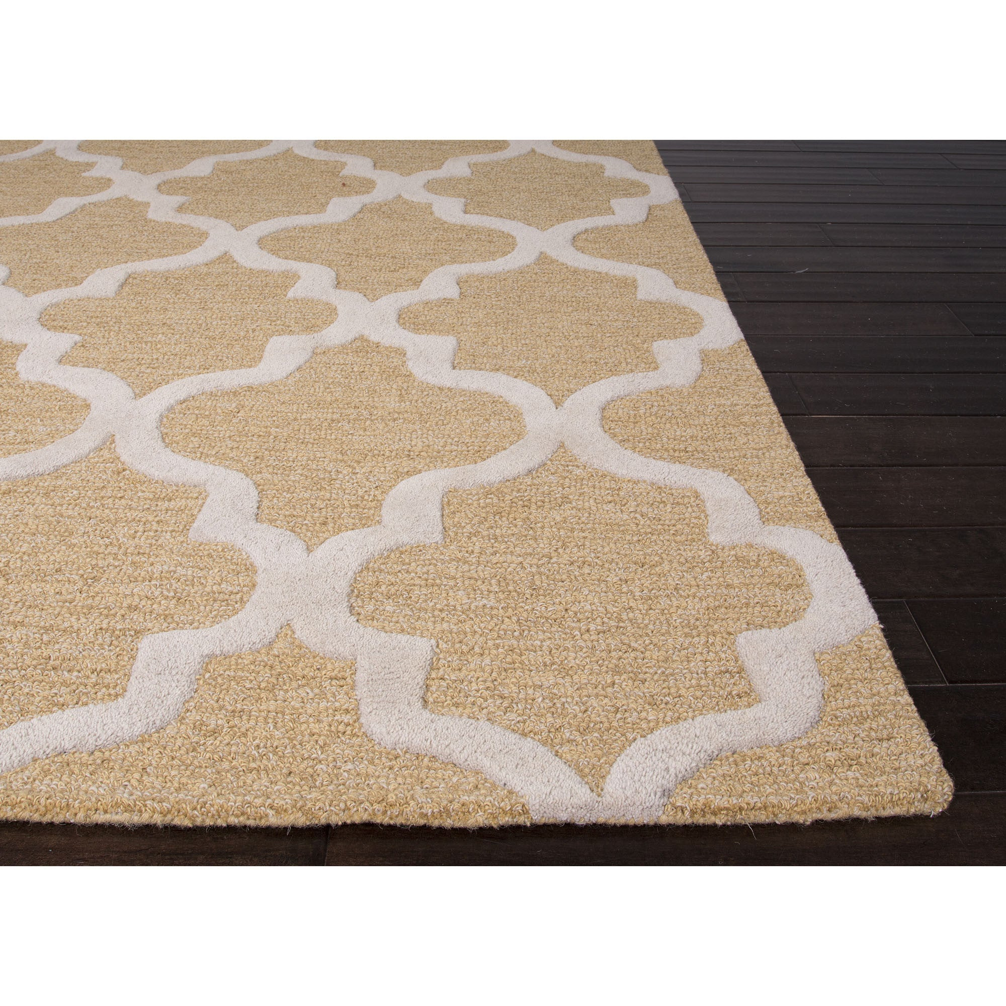 Jaipur rugs modern geometric pattern taupe ivory wool area for Modern wool area rugs
