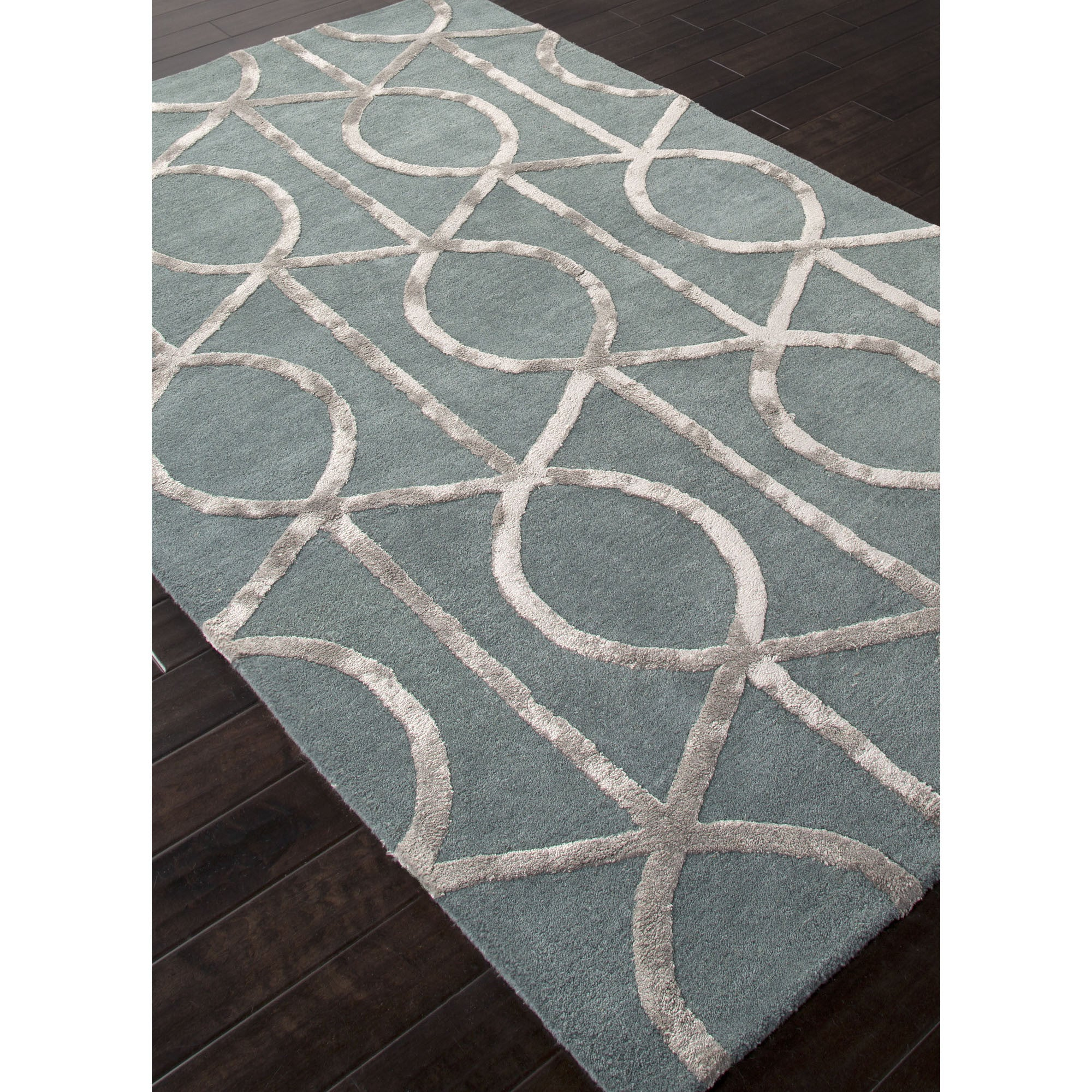 Jaipur Rugs Modern Geometric Pattern Blue Gray Wool And
