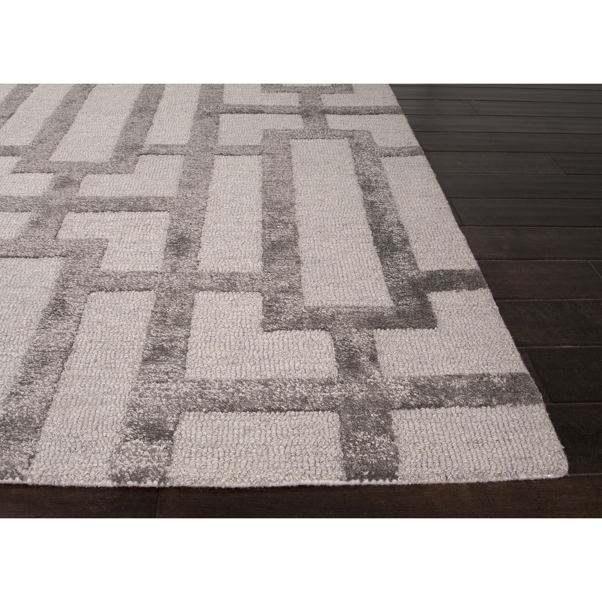 Jaipur rugs modern geometric pattern ivory gray wool and for Modern wool area rugs