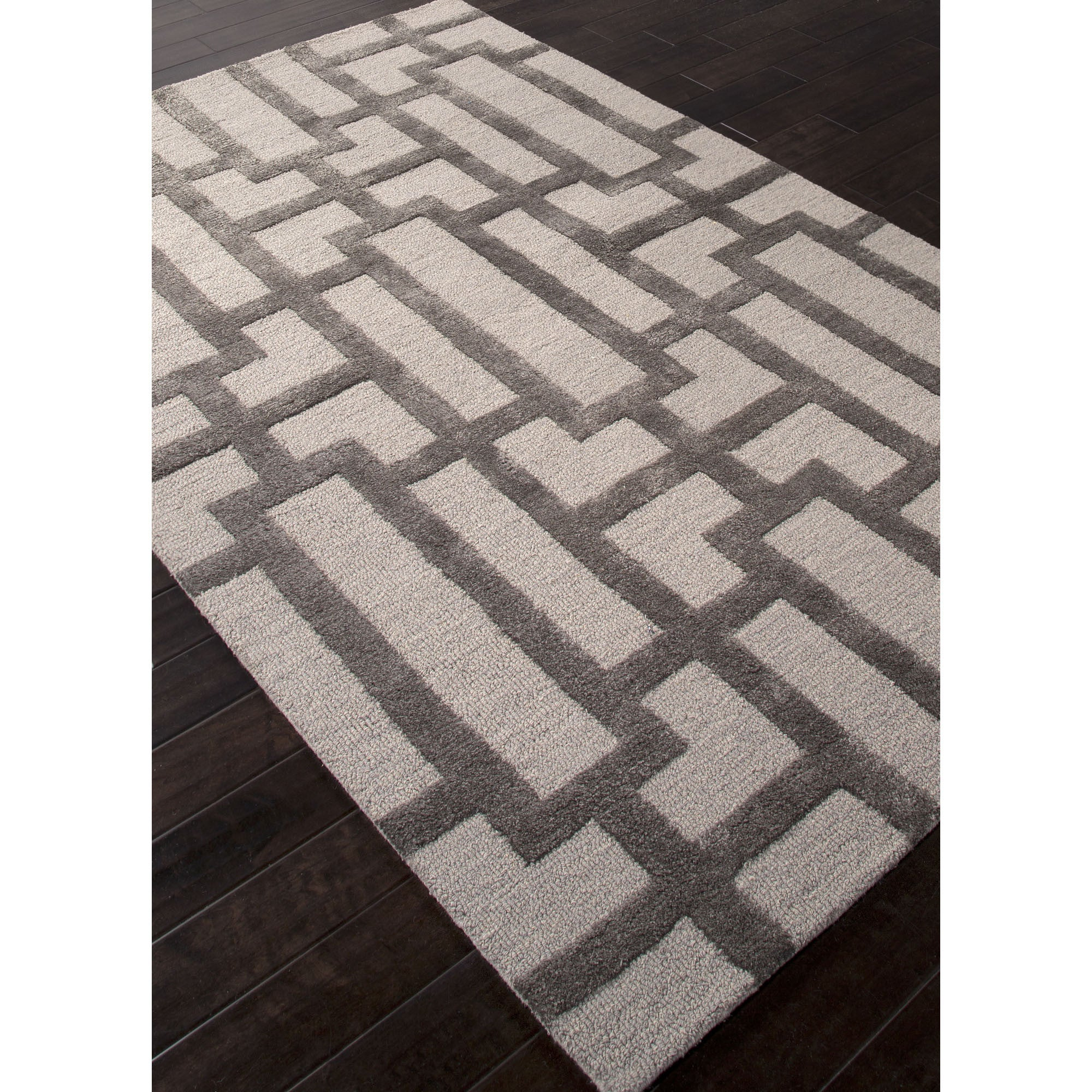 Jaipur rugs modern geometric pattern ivory gray wool and for Contemporary wool area rugs