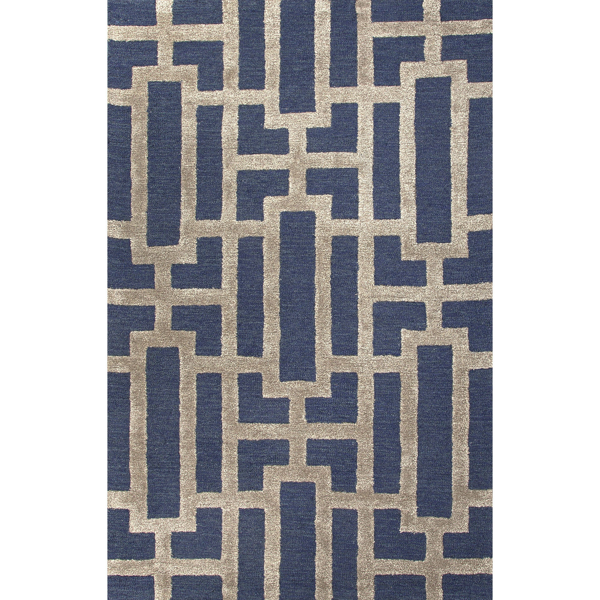 Jaipur Rugs Modern Geometric Pattern Blue Taupe Wool And