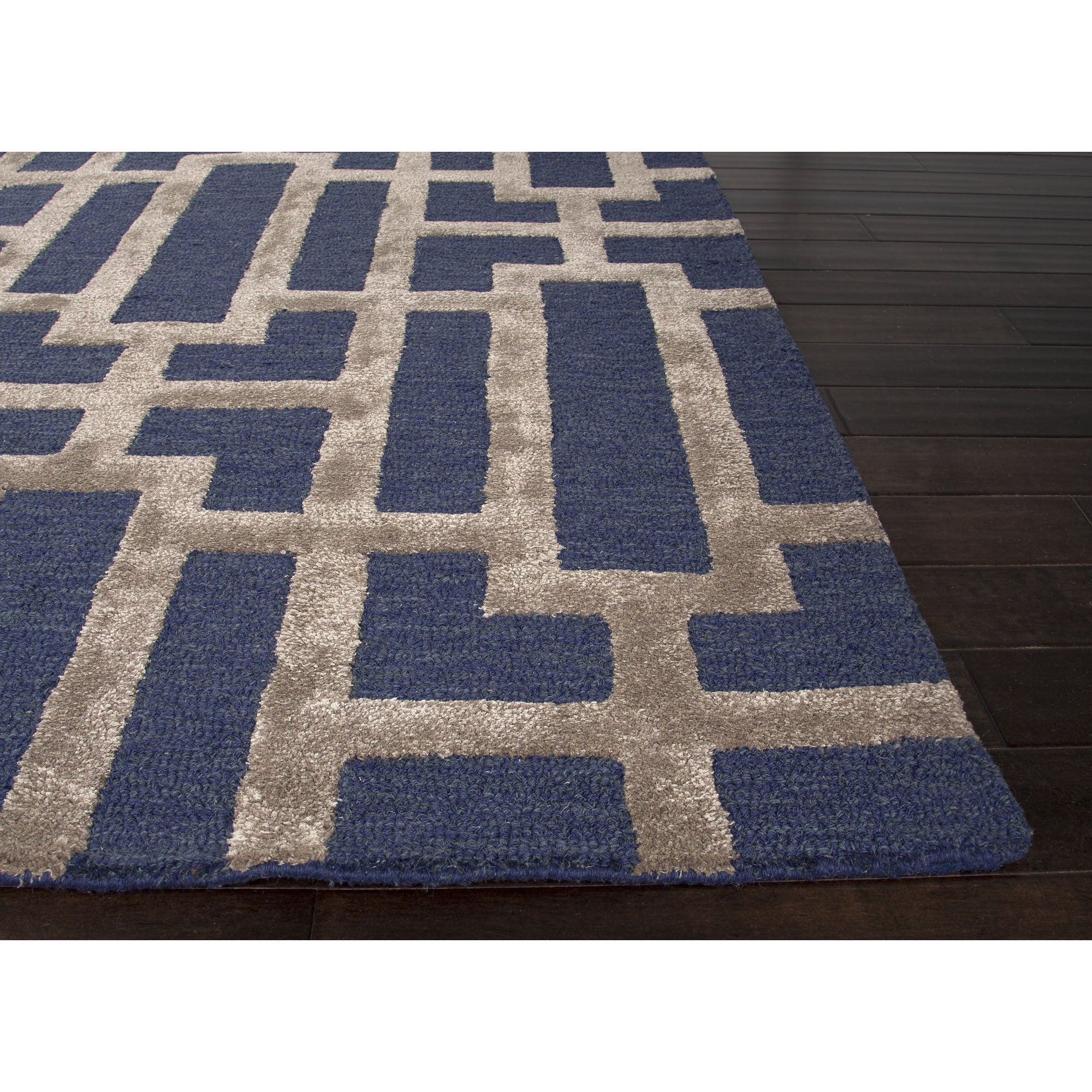 Jaipur rugs modern geometric pattern blue taupe wool and for Contemporary wool area rugs