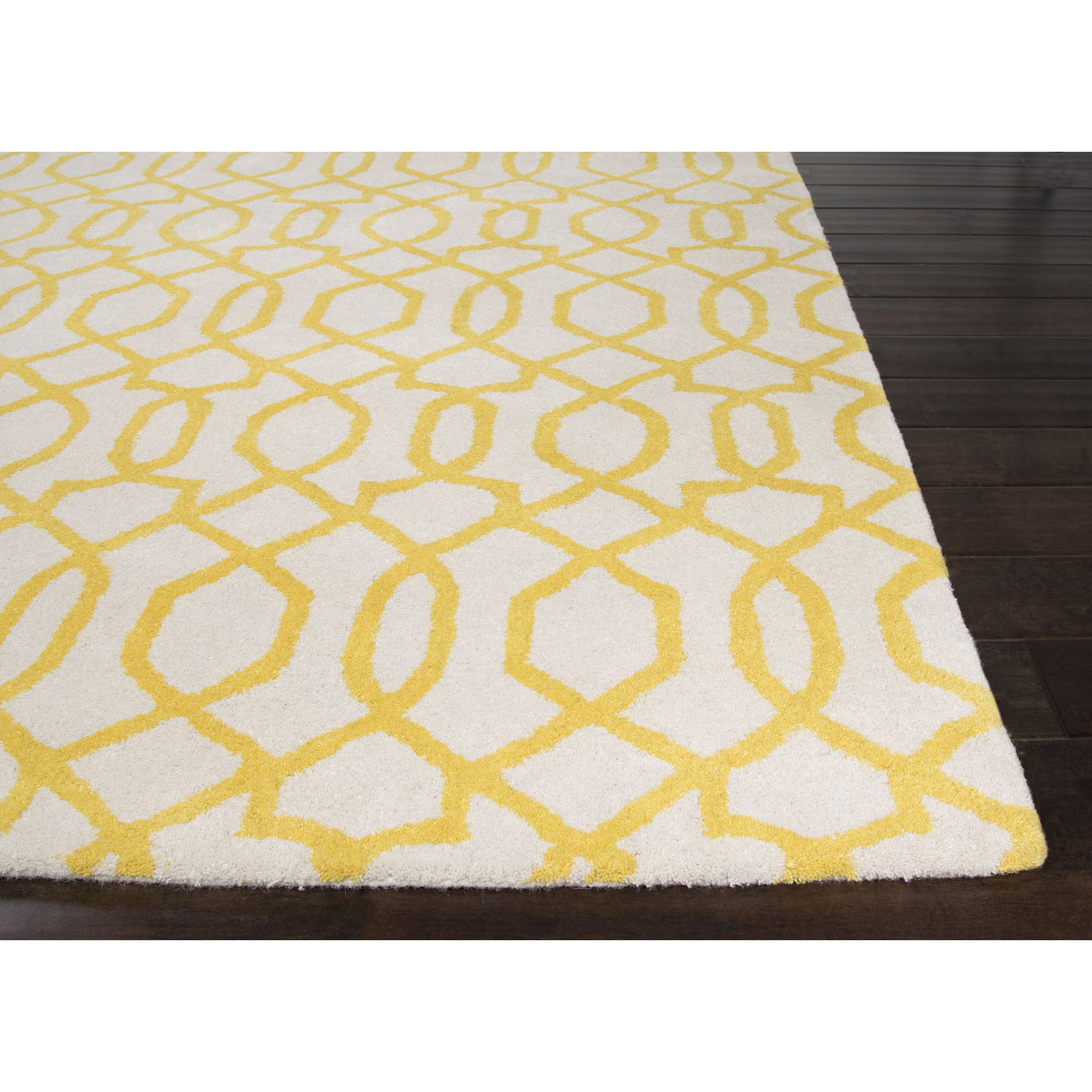 Jaipur rugs modern geometric pattern ivory yellow wool for Modern wool area rugs