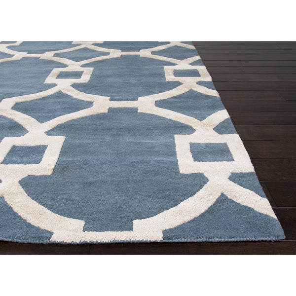 Jaipur Rugs Modern Geometric Pattern Blue Ivory Wool And