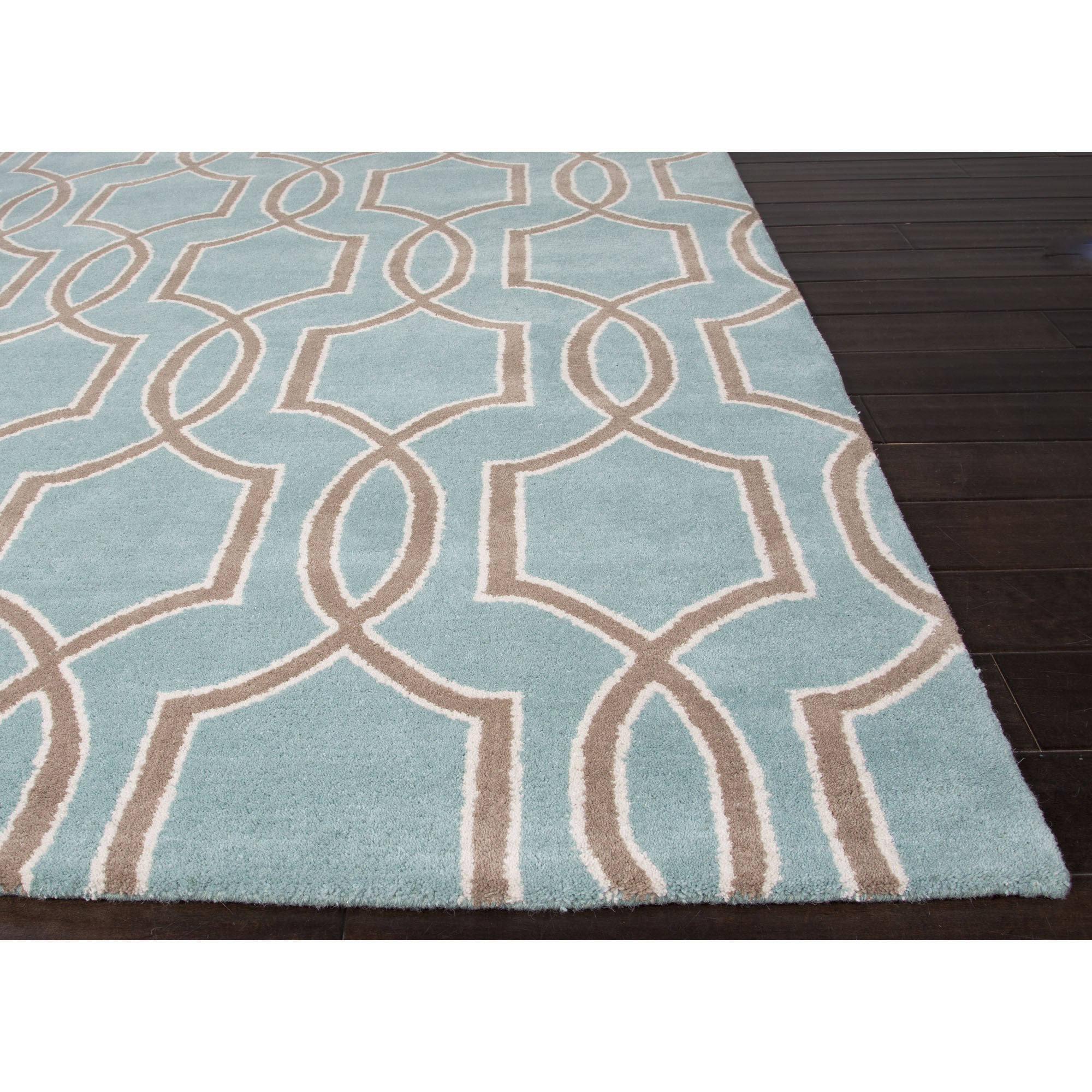 Jaipur rugs modern geometric pattern blue taupe wool area for Modern wool area rugs