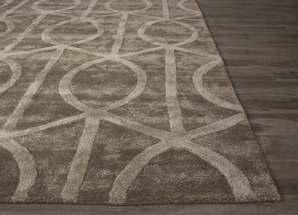 Jaipur Rugs Modern Geometric Pattern Taupe Brown Wool And