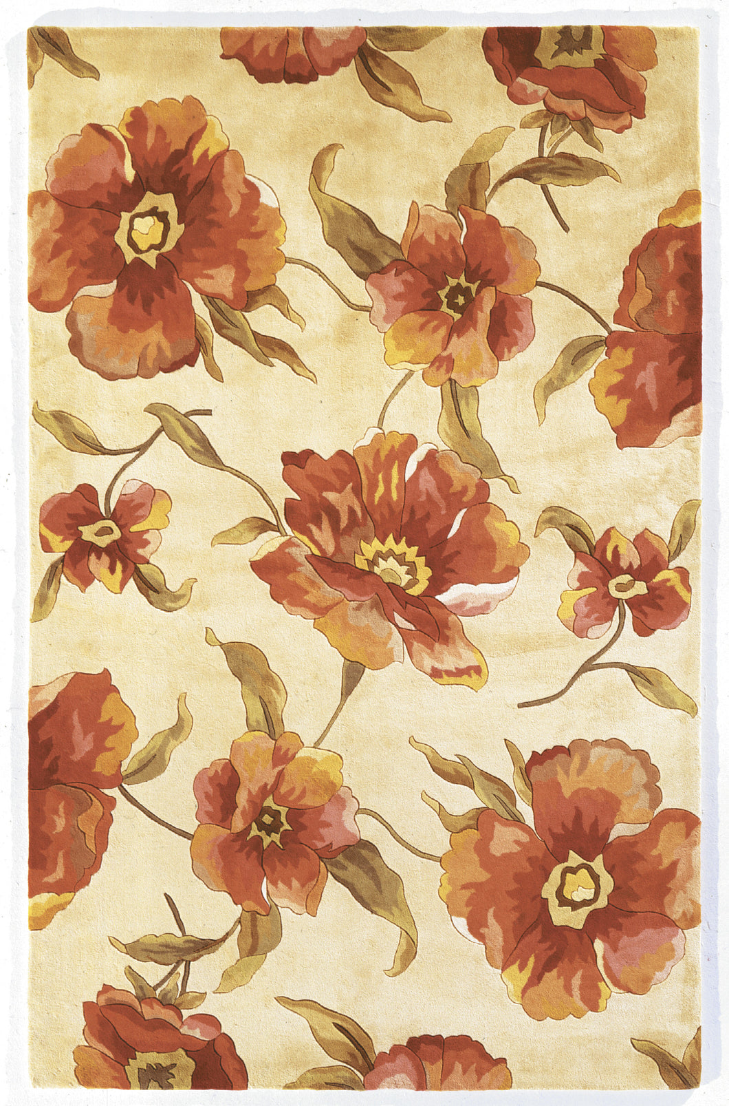 Kas Rugs Catalina 0766 Ivory Poppies Area Rug