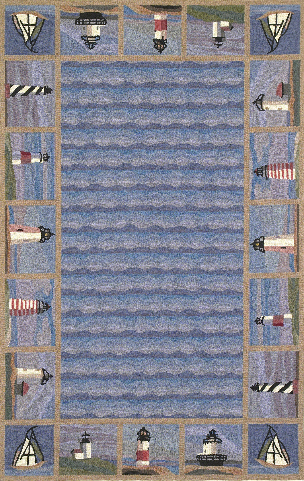 Kas Rugs Colonial 1802 Blue Lighthouse Waves Area Rug