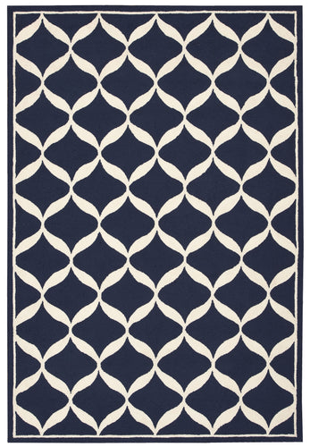 Nourison Decor Navy White Area Rug DER06 NAVWT