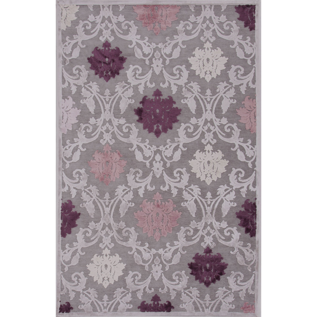 Jaipur Rugs Transitional Floral Pattern Gray/Purple Rayon and Chenille Area Rug