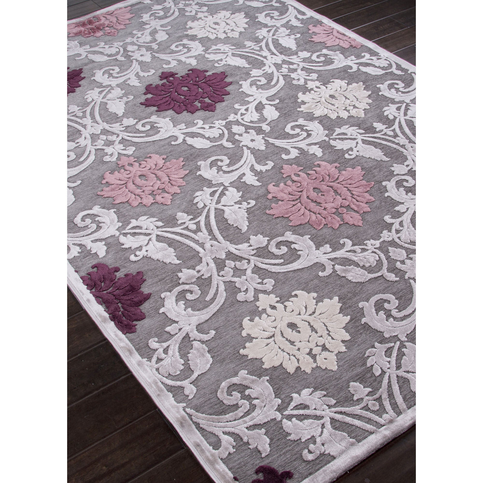 Jaipur Rugs Transitional Floral Pattern Gray/Purple Rayon And Chenille Area  Rug FB26 (Rectangle
