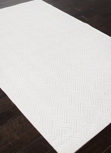 Jaipur Rugs Modern Geometric Pattern Ivory/White Rayon and Chenille Area Rug FB44 (Rectangle)