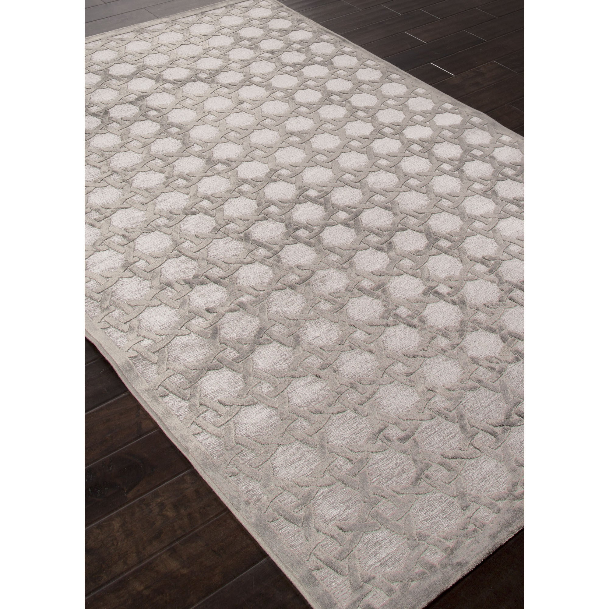 Superior Jaipur Rugs Modern Geometric Pattern Gray Rayon And Chenille Area Rug FB46  (Rectangle)