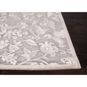 Jaipur Rugs Transitional Floral Pattern Gray/Ivory Rayon and Chenille Area Rug FB54 (Rectangle)