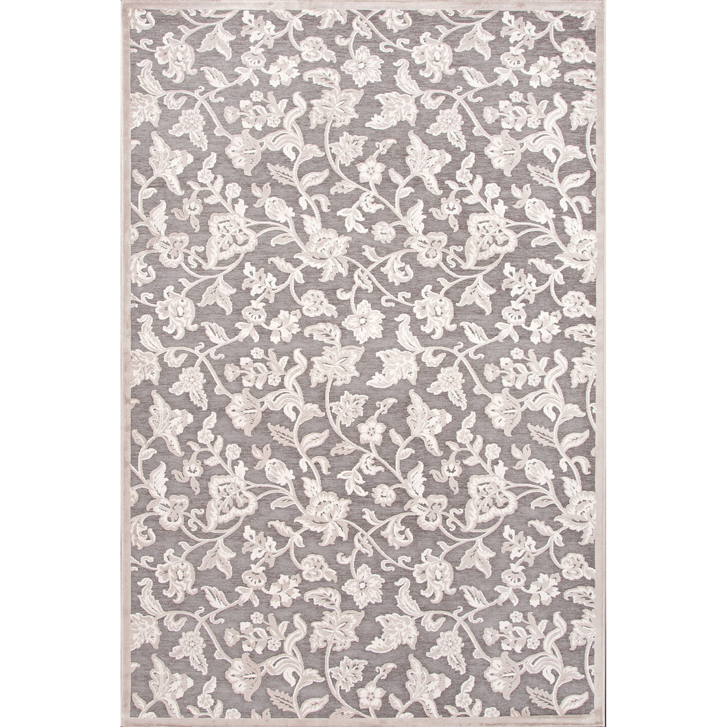 Jaipur Rugs Transitional Floral Pattern Gray/Ivory Rayon and Chenille Area Rug