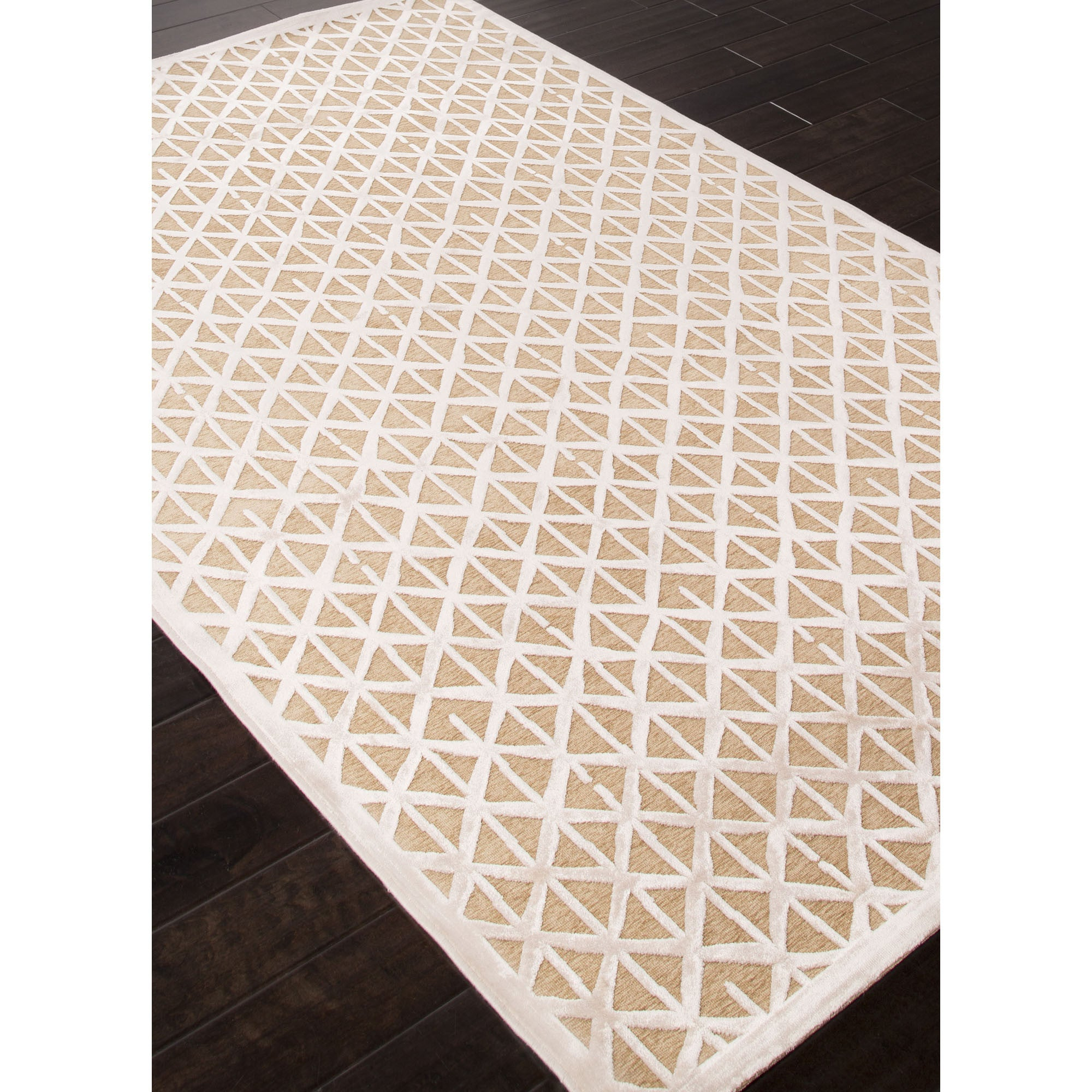 Jaipur Rugs Modern Geometric Pattern Taupe Ivory Rayon And
