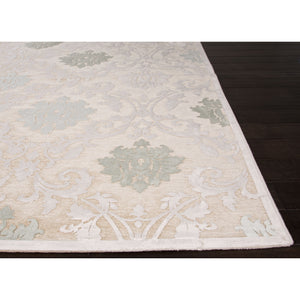 Jaipur Rugs Transitional Floral Pattern Ivory/White Rayon and Chenille Area Rug FB88 (Rectangle)