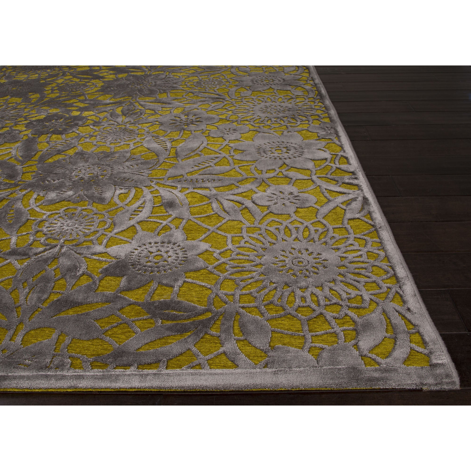 Jaipur Rugs Transitional Floral Pattern Green/Gray Rayon