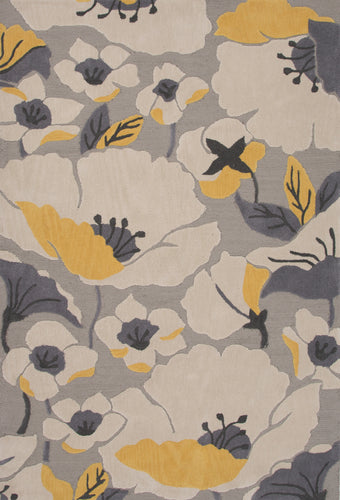 Jaipur Rugs Modern Floral Pattern Gray/Yellow Polyester Area Rug