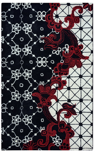 Rizzy Home Fusion FN1447 Black Ornamental Area Rug