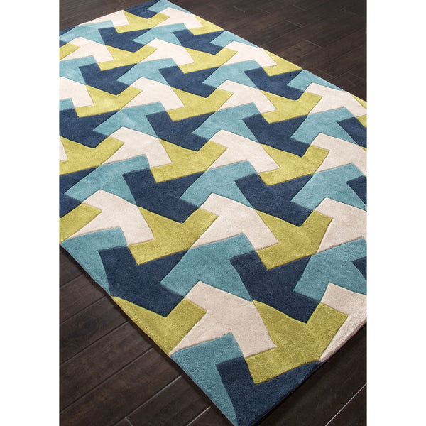 Jaipur rugs modern geometric pattern blue green polyester for Geometric print area rugs