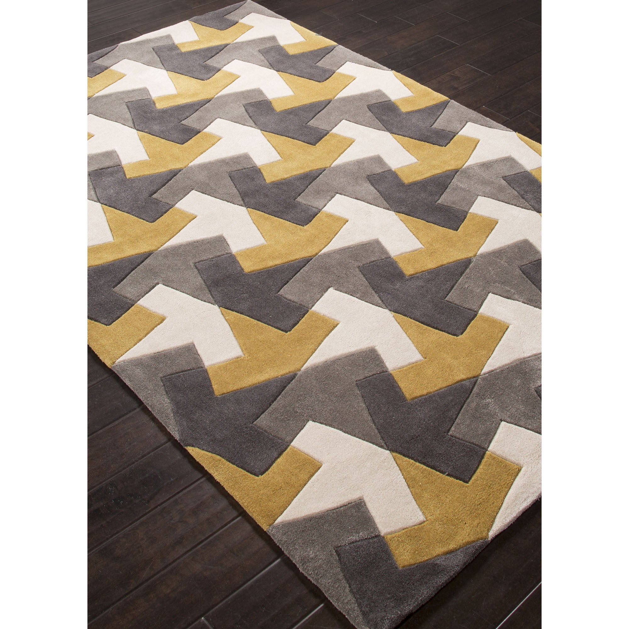Jaipur Rugs Modern Geometric Pattern Gray Yellow Polyester