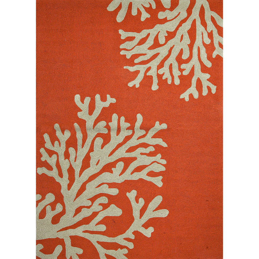 Jaipur Rugs Indoor-Outdoor Conversational Pattern Orange/Ivory Polypropylene Area Rug
