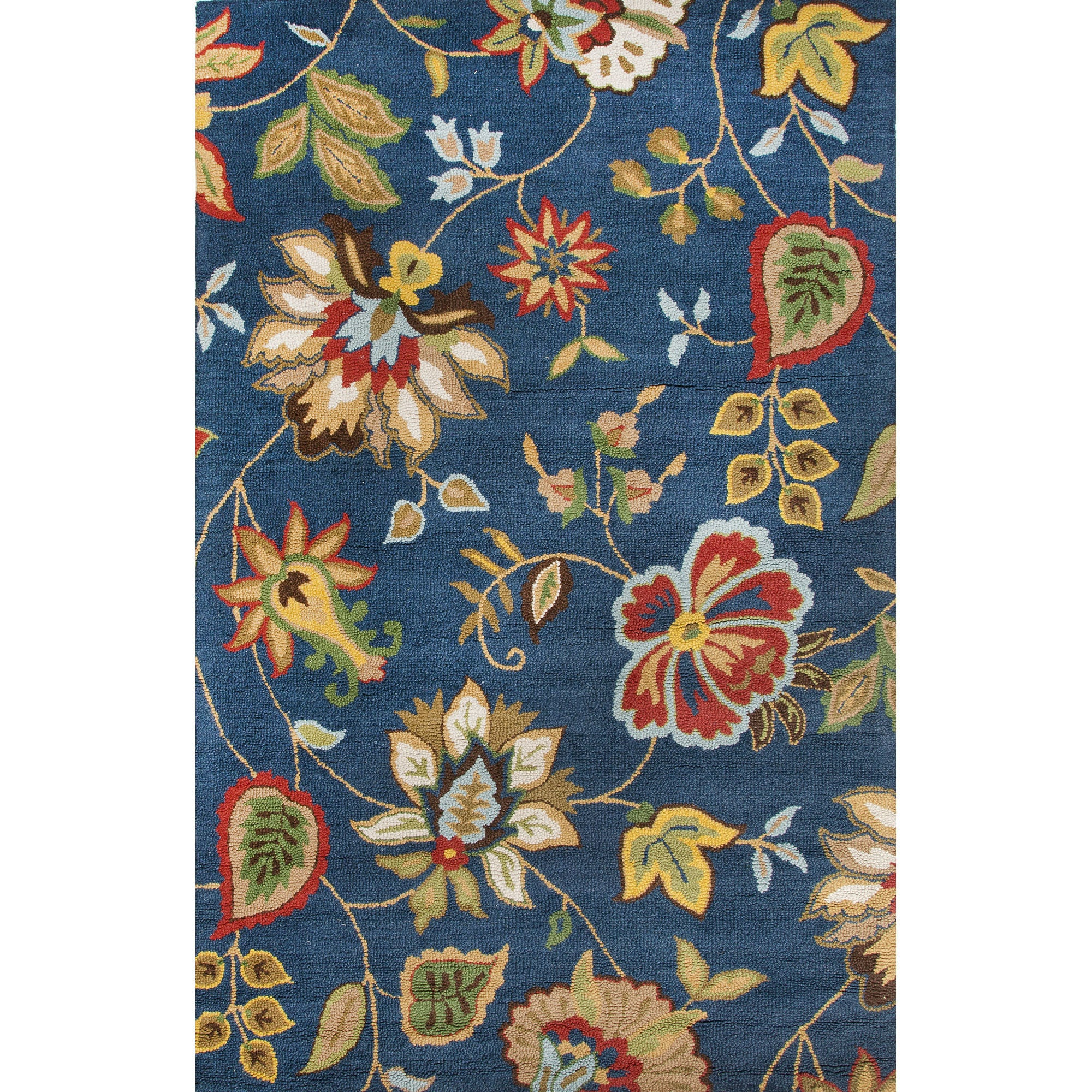 Unique Jaipur Rugs Transitional Floral Pattern Blue/Multi Wool Area Rug  YU48
