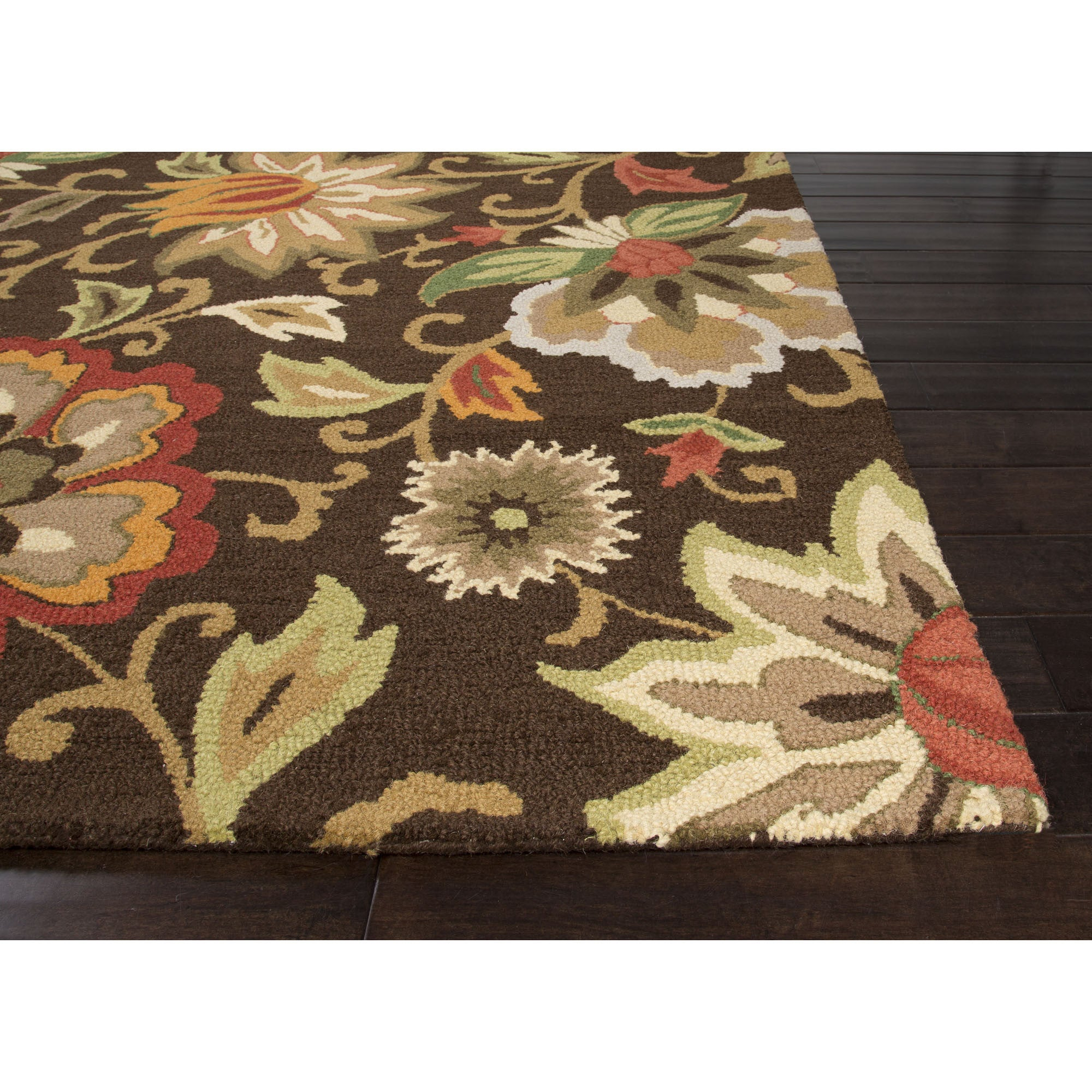 Jaipur rugs transitional floral pattern brown red wool for Red floral area rug