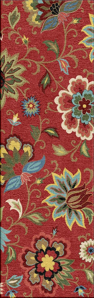 Jaipur Rugs Transitional Floral Pattern Red Blue Wool Area