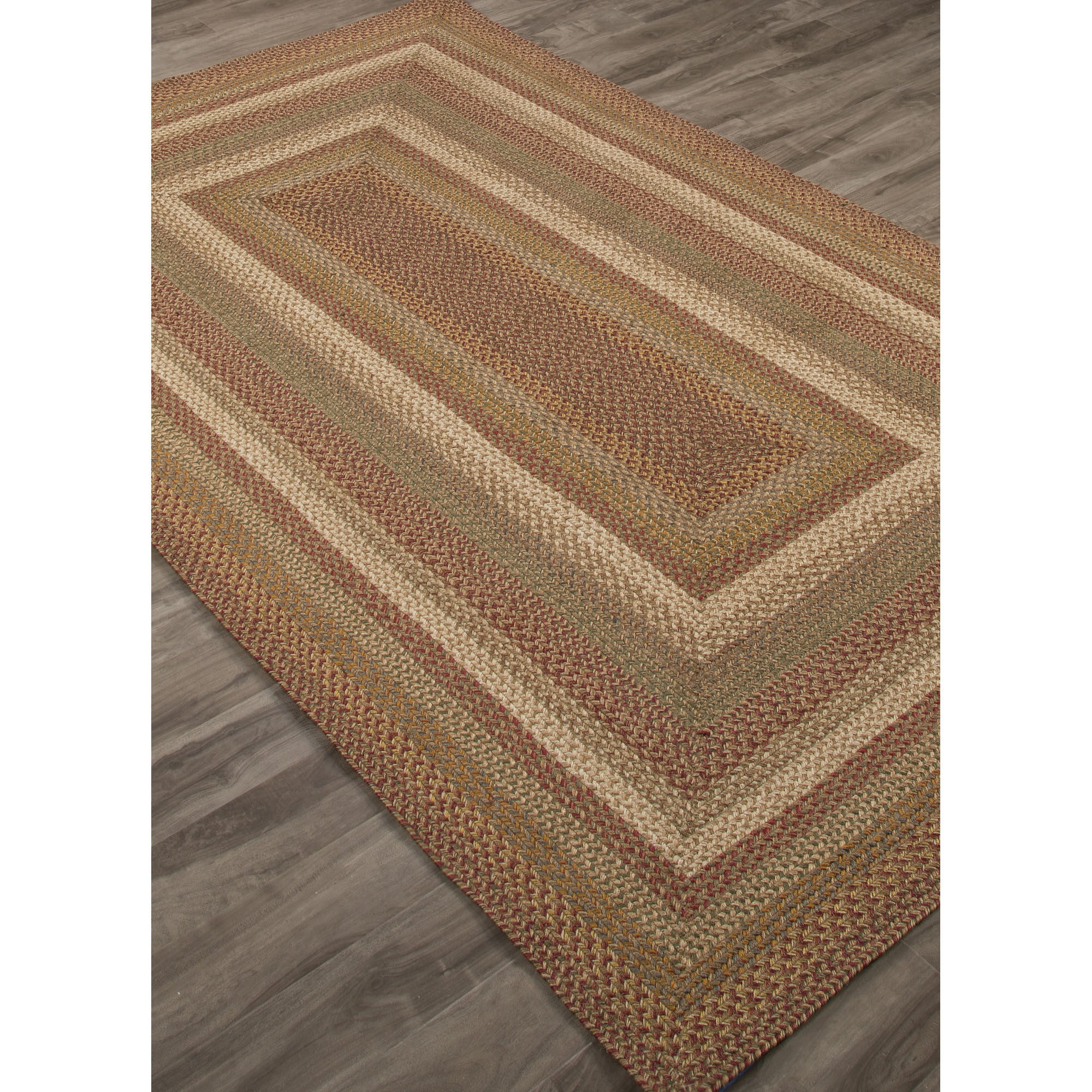 Jaipur Rugs Braided Solid Pattern Red/Green Jute And