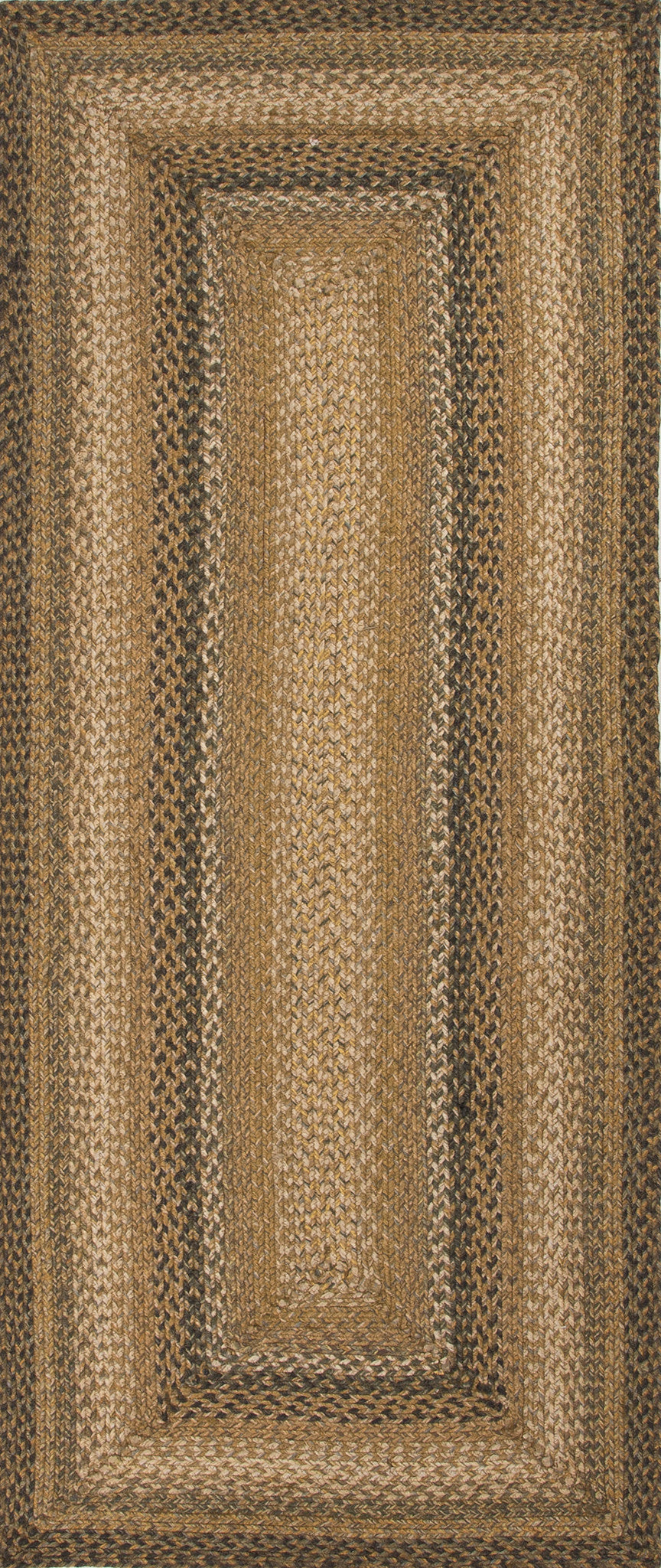 Jaipur Rugs Braided Solid Pattern Taupe/Green Jute and Polyester Area Rug