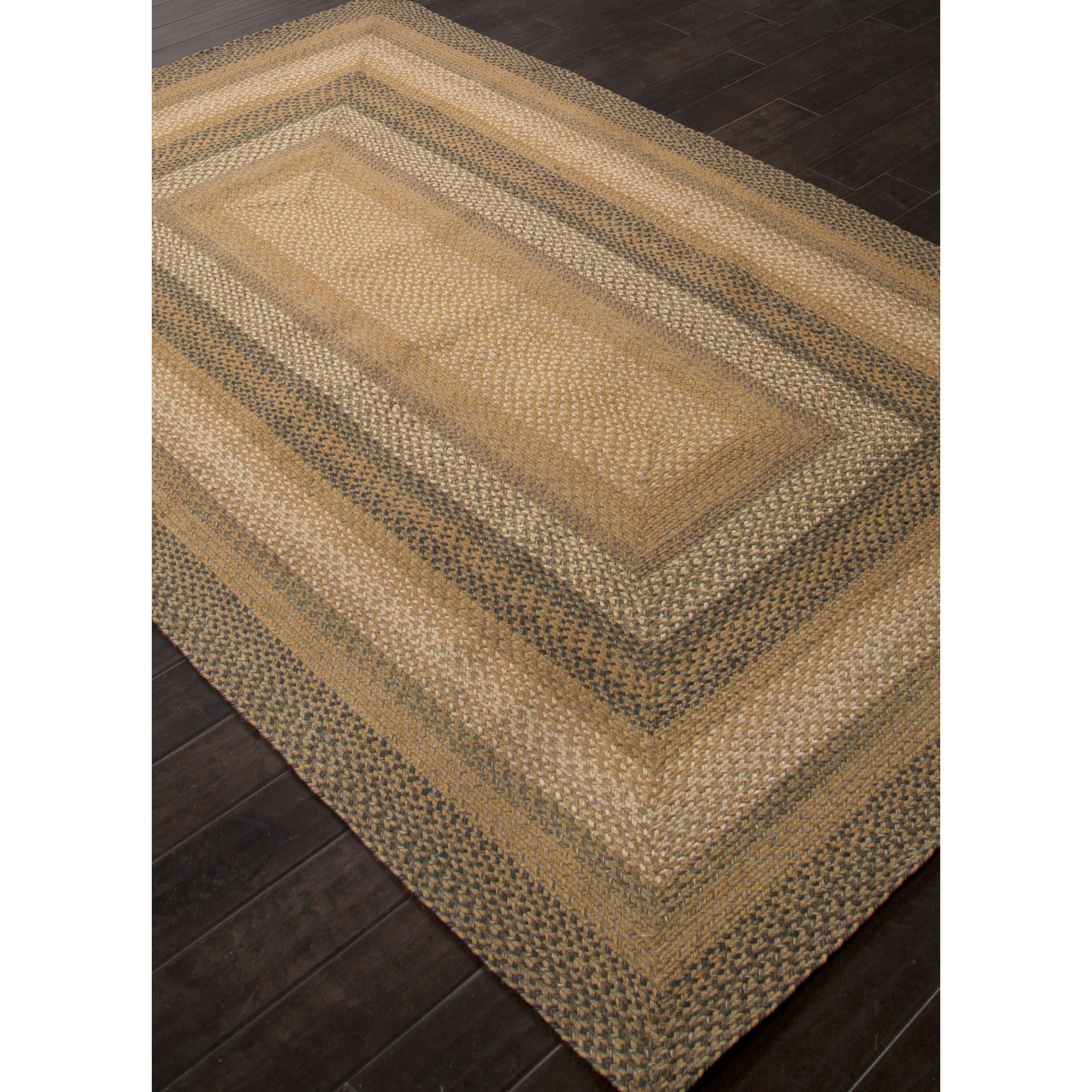 Jaipur Rugs Braided Solid Pattern Taupe/Green Jute And