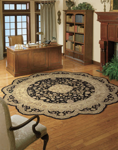Nourison Heritage Hall Black Area Rug HE10 BLK (Round)